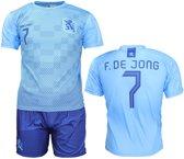 Nederlands Elftal Replica Frenkie de Jong Uit Tenue Voetbal T-Shirt + Broek Set Blauw, Maat: XXL