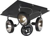 QAZQA Nox - Plafond spot - 4 lichts - L 320 mm - Zwart