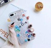 Telefoonhoesje met bewegende glitters en bewegende icoontjes - iPhone 7/8 - Zilver/Grijs - LIMITED EDITION - Vloeibaar