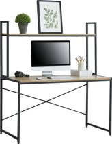 [en.casa] Bureau met 1 plank Meppel zwart en hout