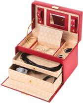 Treasury Classic Sieradendoos - Luxe Juwelendoos met spiegel - Opbergbox kunstleder - Rood