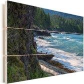 Het strand op de Charlotte-eilanden in Canada Vurenhout met planken 60x40 cm - Foto print op Hout (Wanddecoratie)