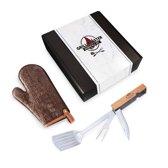 LuxBox Grill Master Essentials set / Xapron lederen BBQ-want - Esschert Design inkapbare BBQ-tool set