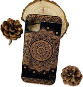 Phannie iPhone 11 Hoesje Carved Wood - Back Cover Iphone 11 -  Telefoonhoesje Hout