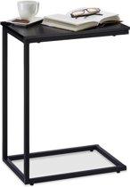 relaxdays C bijzettafel metaal - salontafel houten tafelblad - siertafel zwart - 61cm hoog