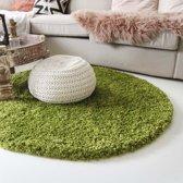 Hoogpolig rond vloerkleed shaggy Royal 5cm hoogte - groen 120 cm rond