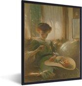 Foto in lijst - The Ring - Schilderij van John White Alexander fotolijst zwart 30x40 cm - Poster in lijst (Wanddecoratie woonkamer / slaapkamer)