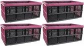 4x Zwart/roze inklapbare boodschappenkrat/opbergkrat 48 cm - Vouwkratten/boodschappenkratten - Krat voor boodschappen