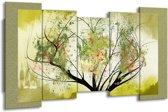 Canvas schilderij Bomen | Groen, Zwart | 150x80cm 5Luik