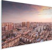 Luchtfoto met een kleurrijke zonsondergang in Fuzhou in China Plexiglas 120x80 cm - Foto print op Glas (Plexiglas wanddecoratie)