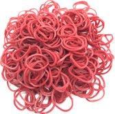 600 Loom Bands met 2 weefhaken en S-clips rood