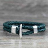 Armband Emerald Leer-Zilver Braided| Armband Unisex | Armband 21 cm