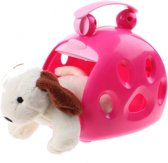 Toi-toys Hond In Draagkoffer Donkerroze 12 Cm