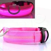 OWO - Honden halsband met led verlichting - roze/large 42-53cm