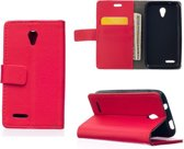 Litchi cover rood wallet case hoesje Alcatel One Touch Pixi 4 (3.5)