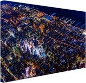 Manhattan vanaf boven bij nacht Canvas 60x40 cm - Foto print op Canvas schilderij (Wanddecoratie woonkamer / slaapkamer) / Steden Canvas Schilderijen