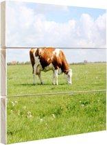 FotoCadeau.nl - Bruin-witte koe in de wei Hout 50x50 cm - Foto print op Hout (Wanddecoratie)