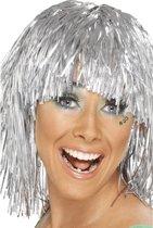 Zilveren glitter pruik