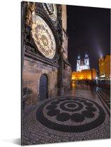 Middeleeuwse klok op het Oude Stadsplein in Praag Aluminium 120x180 cm - Foto print op Aluminium (metaal wanddecoratie) XXL / Groot formaat!
