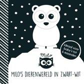 Boek cover Milos dierenwereld in zwart-wit van Rowena Blythe