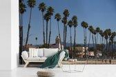 Fotobehang vinyl - Het stadslandschap van Santa Cruz Californië achter palmbomen breedte 540 cm x hoogte 360 cm - Foto print op behang (in 7 formaten beschikbaar)