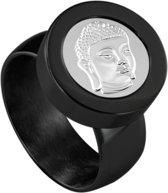 Quiges RVS Schroefsysteem Ring Zwart Glans 17mm met Verwisselbare Boeddha 12mm Mini Munt