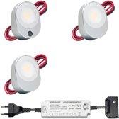 LED onderbouwverlichting keuken Lilla - keukenverlichting / verlichting keukenkastjes - 3W / sensor / 230V / IP20 / warmwit - set van 3 stuks