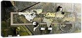 Schilderij - Wereldkaart Industrieel, Panorama