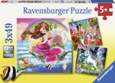 Ravensburger Wereld van de fabelwezens Drie puzzels van 49 stukjes