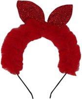 Jessidress Haarband Diadeem met Konijnenoortjes van Pailleten en Nepbont Hoofdband - Rood
