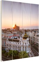 Luchtfoto Madrid Hout 40x60 cm - Foto print op Hout (Wanddecoratie)