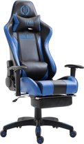 Clp Boavista - Racing bureaustoel - Kunstleer - zwart/blauw, met voetsteun