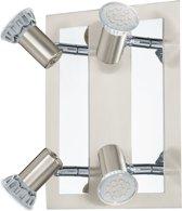 EGLO Rottelo Plafondspots - 4 Lichts - Nikkel-Mat, Chroom