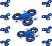 relaxdays 10 x Fidget Spinner in blauw - 10-delige set - hand spinner, anti-stress spinner