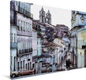 Het Pelourinho-district van de stad Salvador in Brazilië Canvas 120x80 cm - Foto print op Canvas schilderij (Wanddecoratie woonkamer / slaapkamer)
