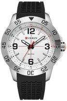 Curren heren horloge - analoog - 45 mm - zwart/wit - I-deLuxe verpakking