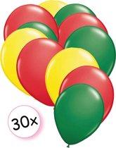 Ballonnen Geel, Rood & Groen 30 stuks 27 cm