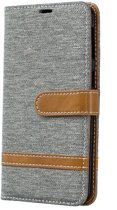 Samsung Galaxy A40 Hoesje - Denim Book Case - Grijs