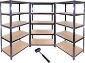 Set 3x Opbergrek Zwart – 90x45x180 Stellingkast – 4200kg max - Magazijnrek – Voorraadkast Garage – Legbordstelling – Opberg Rek Stelling Kast Magazijnrek