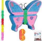relaxdays 4-delige pinata set vlinder - pinata accessoires - blinddoek - stok - confetti