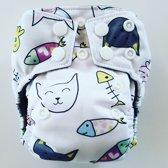 AN5 AIO Newborn wasbare Pocket luier poes & vis
