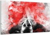 Schilderij   Canvas Schilderij Vrouw, Kunst   Rood, Grijs, Wit   120x70cm 1Luik   Foto print op Canvas