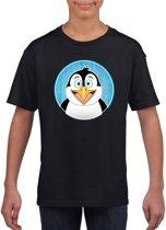 Kinder t-shirt zwart met vrolijke pinguin print - pinguins shirt M (134-140)