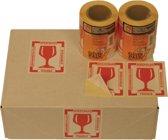 Etiket cleverpack tekst breekbaar 80 x 100 mm rood