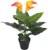 Kunst calla lelie plant met pot 45 cm rood en geel (incl. Fotolijst)