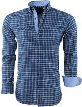 Montazinni - Heren Overhemd - Geblokt - Navy - Groen