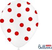 Ballonnen wit met dots 50 stuks
