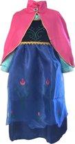 Prinses Anna blauwe verkleedjurk maat 116/122 met roze cape (labelmaat 130)