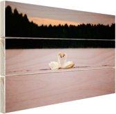 Zwanen paar Hout 120x80 cm - Foto print op Hout (Wanddecoratie)