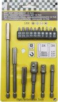 Bit dop adapter verlengset (16 dlg) zeskant